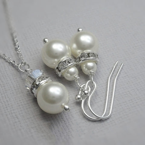 white pearl and crystal necklace and earrings set