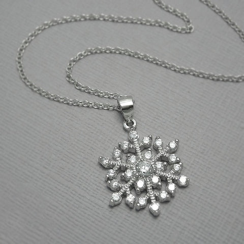 cubic zirconia snowflake necklace