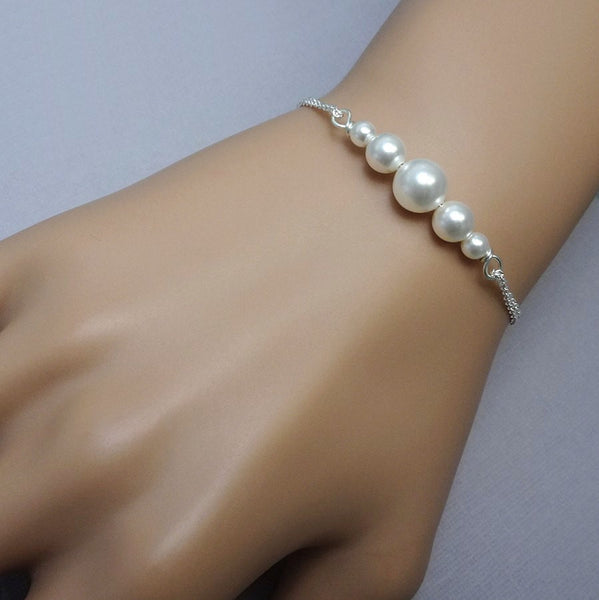 white pearl chain bracelet size reference