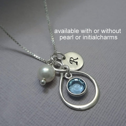 infinity channel necklace, with pearl and initial charms