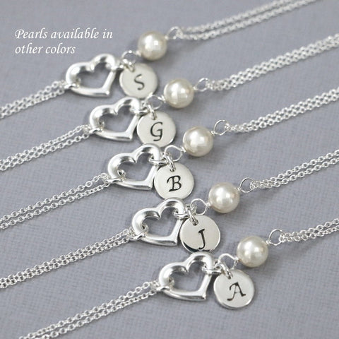 open heart and ivory pearl bracelet with initial charm