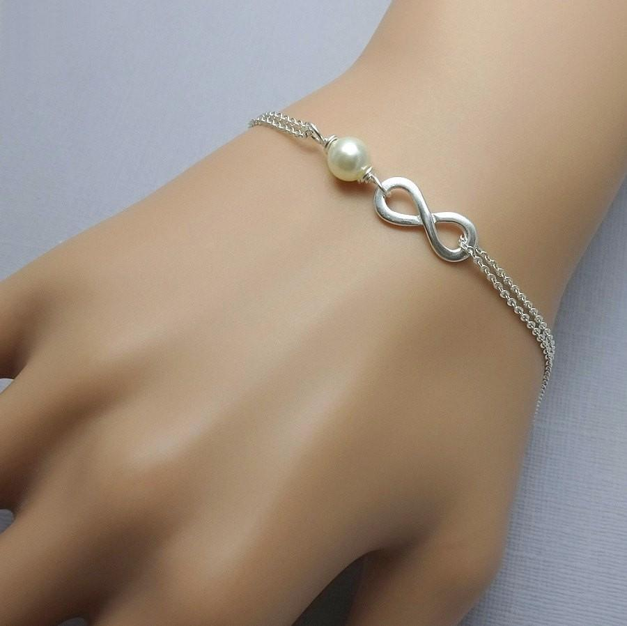 sterling silver infinity and ivory pearl chain bracelet