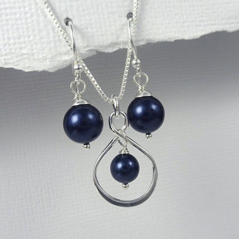 infinity and navy pearl necklace and earrings set