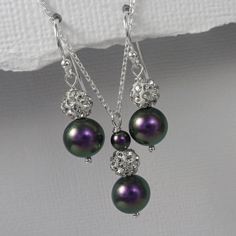 iridescent purple pearl necklace and earrings set