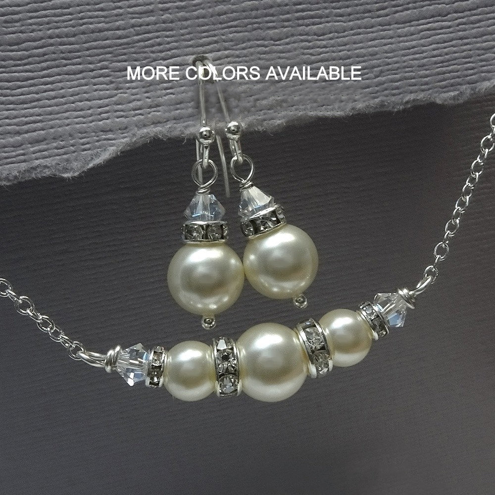 ivory pearl and clear crystal necklace and earrings set