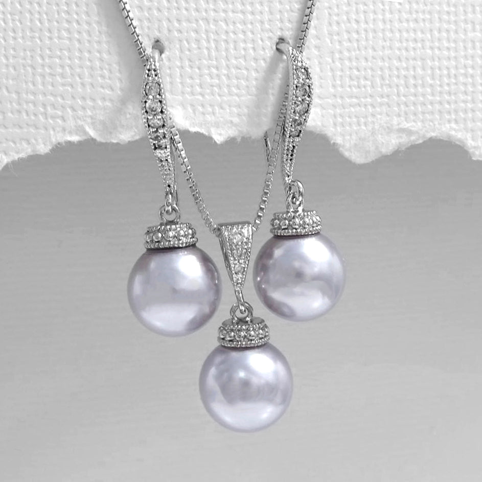 lavender 10mm pearl necklace and earrings set