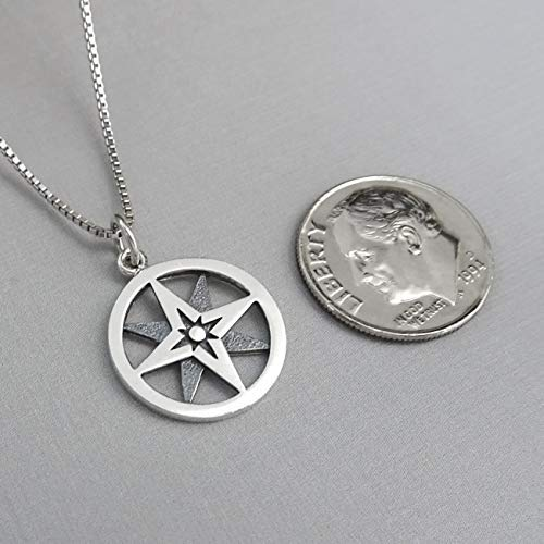 compass necklace size reference