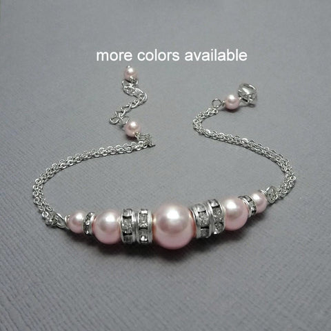 light pink pearl chain bracelet