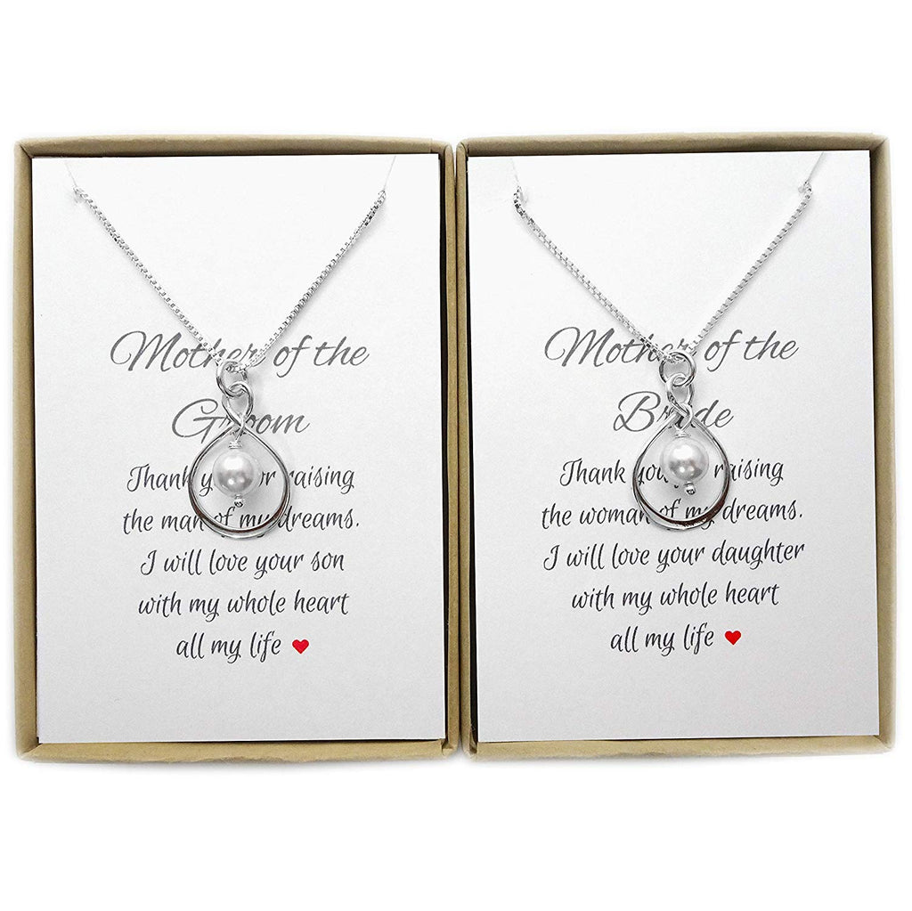 set of 2 infinity and white pearl necklaces with sentiments card