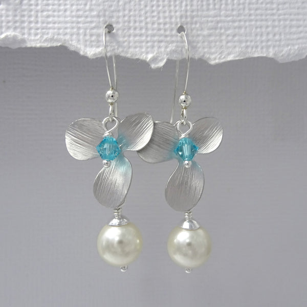 orchid, pearl and crystal earrings