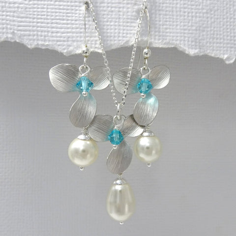 light turquoise and orchid necklace and earrings set