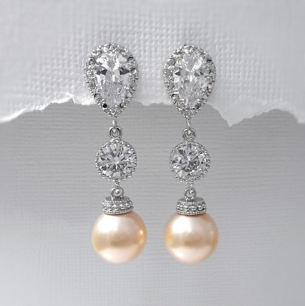 peach pearl dangle earrings