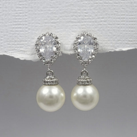ivory pearl earrings with cubic zirconia stud post