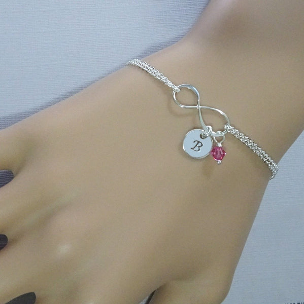 infinity chain bracelet with initial and birthstone charms, size reference