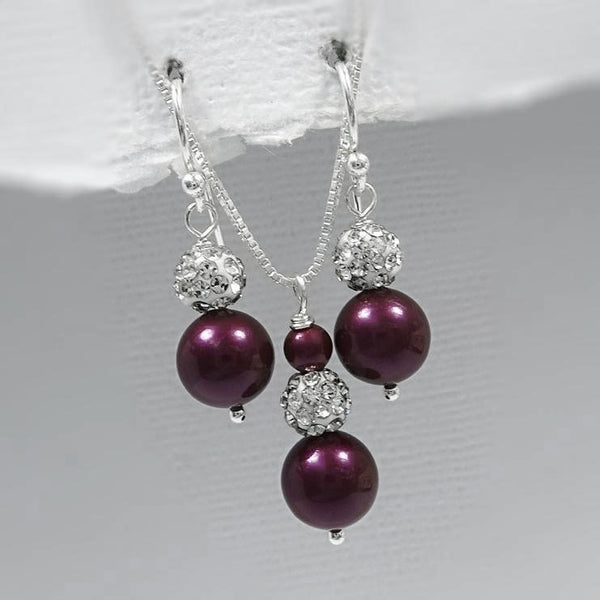 blackberry pearl necklace and earrings set