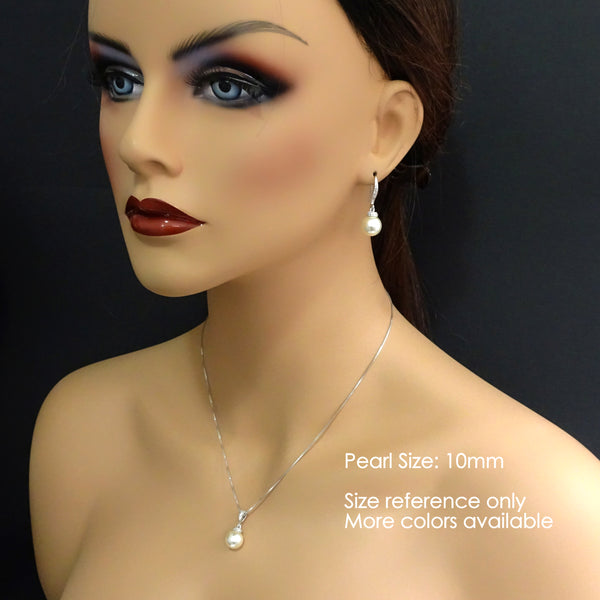 10mm pearl necklace and earrings set on a model