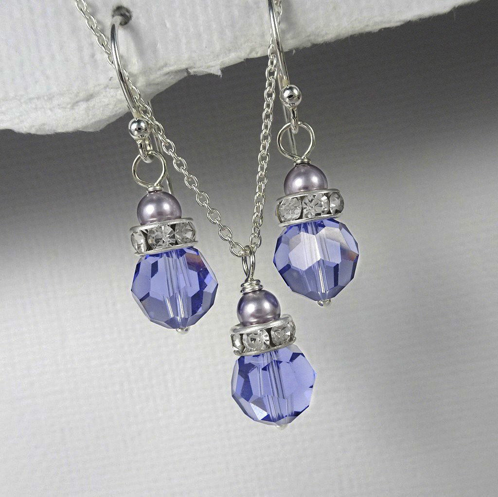 tanzanite crystal and mauve pearl necklace and earrings set