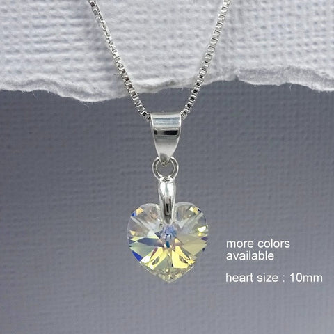 10mm clear crystal heart necklace