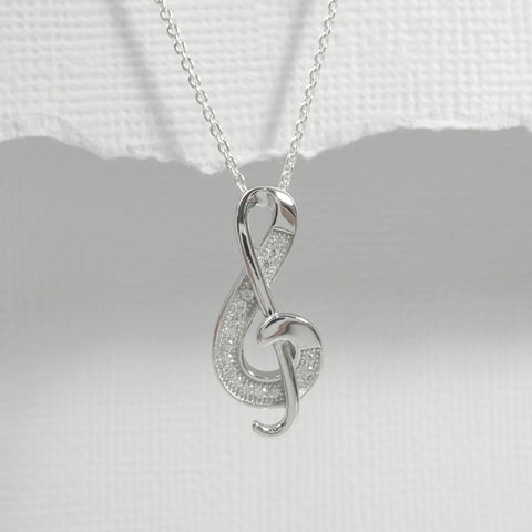 cz music note necklace