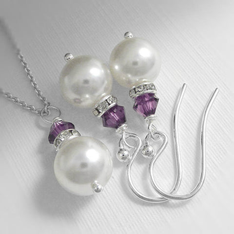 white pearl and purple crystal necklace and earrings set