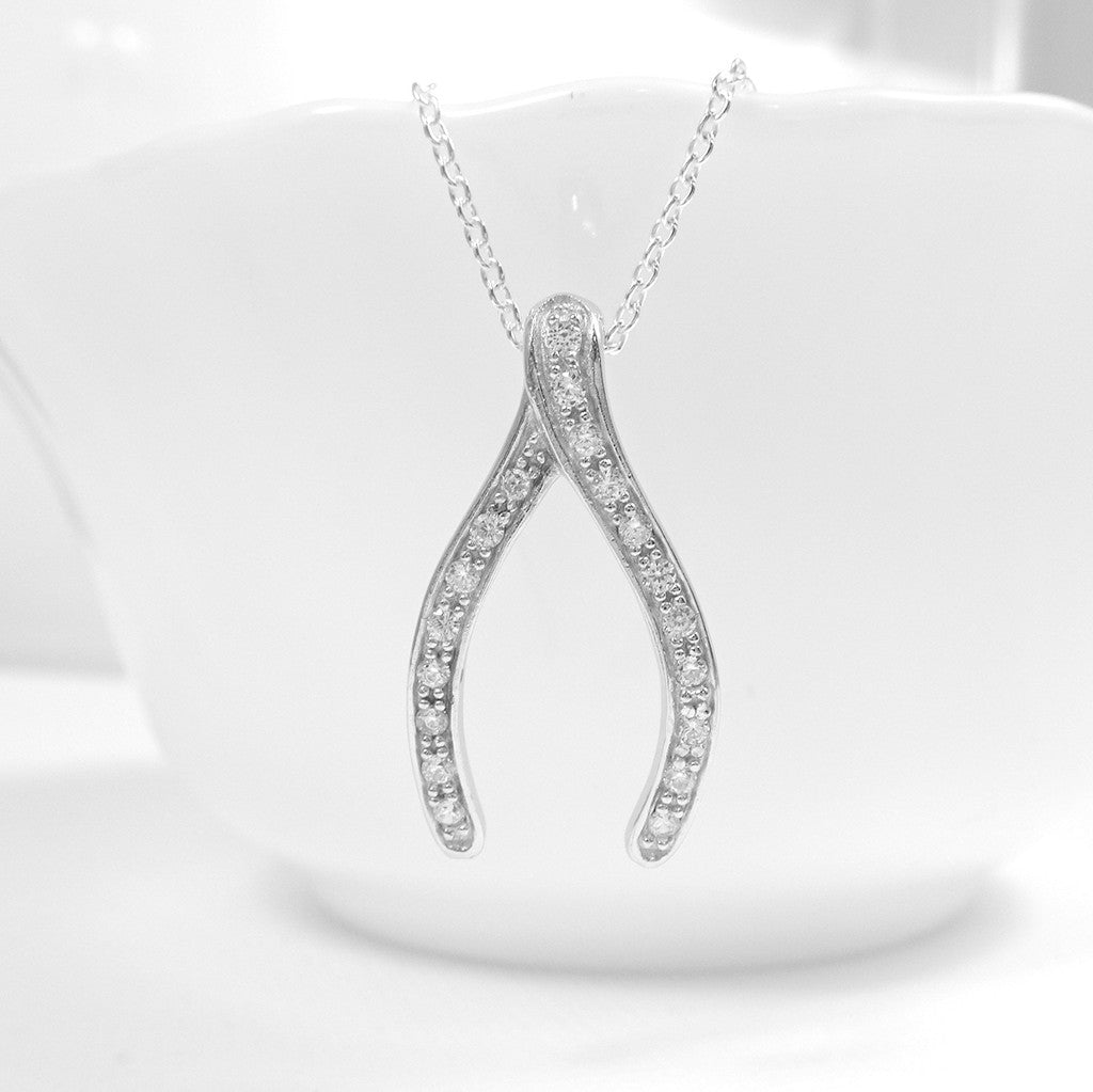 cubic zirconia wishbone necklace