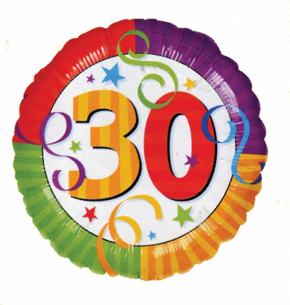 "18"" RAINBOW BIRTHDAY 30 FOIL BALLOON (79)"