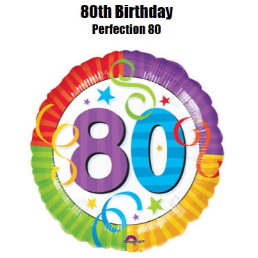 "18"" RAINBOW BIRTHDAY 80 FOIL BALLOON (327)"