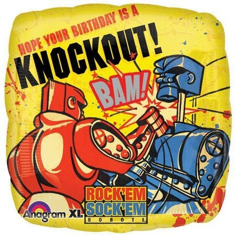 "18"" ROCK EM SOCK EM BDAY FOIL BALLOON (353)"