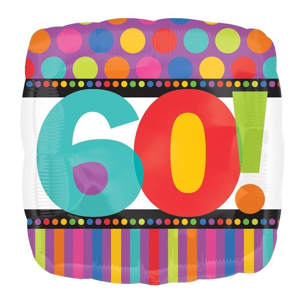 "18"" BDAY STRIPES DOTS 60 FOIL BALLOON (40)"
