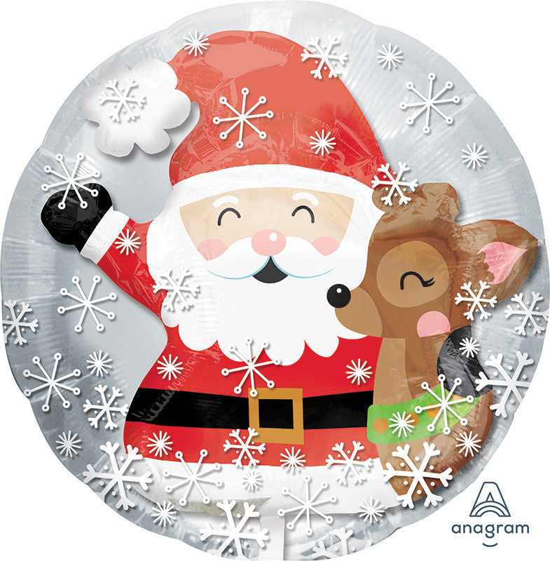 "24"" SANTA / CUTE DEER INSIDER FOIL BALLOON"