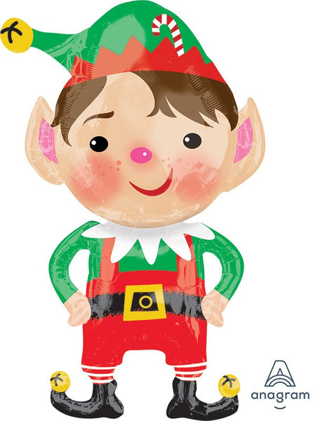 "35"" JOLLY CHRISTMAS ELF FOIL BALLOON"
