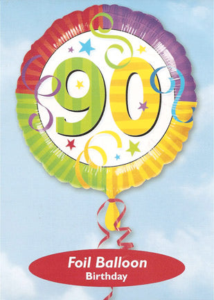 "18"" RAINBOW BIRTHDAY 90 FOIL BALLOON (426)"