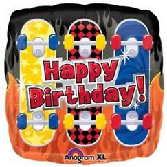 "18"" BDAY SKATEBOARDS FOIL BALLOON (352)"