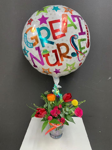 GREAT NURSE BALLOON AND FLORAL