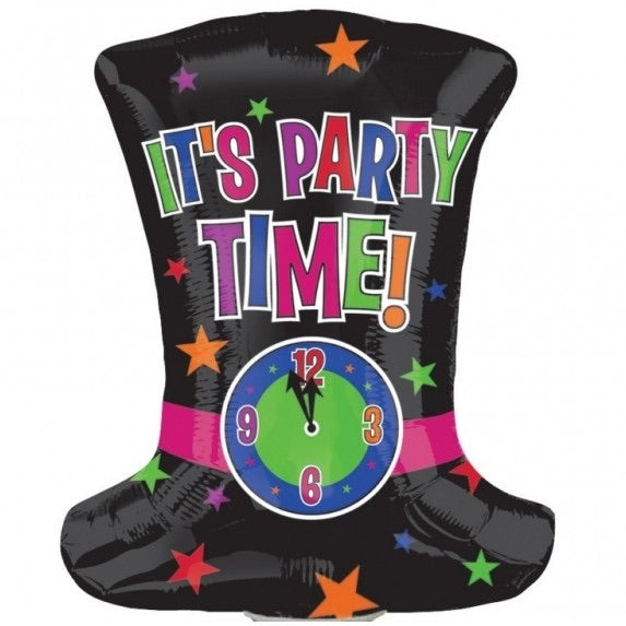 "25"" IT'S TIME TO PARTY CLOCK TOP HAT (523)"