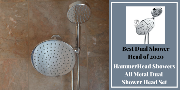 Best Dual Shower Head Combo All Metal Set by HammerHead Showers