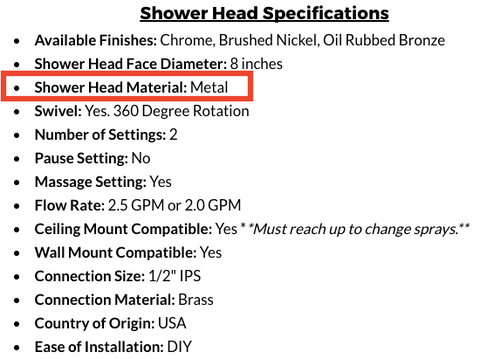 Metal Shower Head Material Indicator