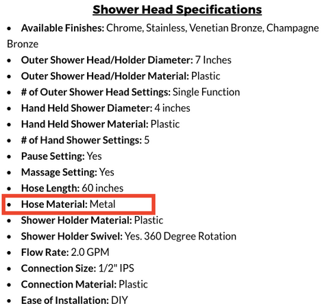 Metal Shower Hose Identifier