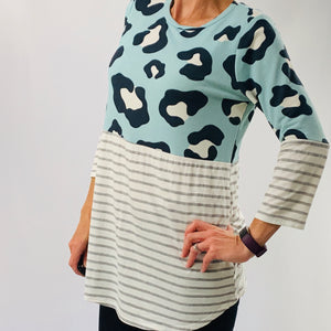 Blue Leopard Print Color Block Top