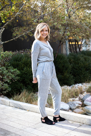 Lounge Around Jumpsuit in Grey