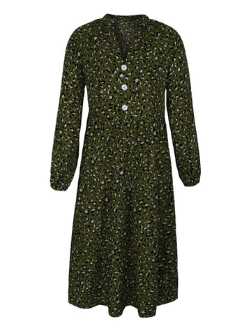 Olive Green Leopard Dress