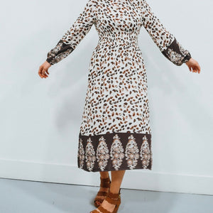 Fall Print Long Sleeved Dress