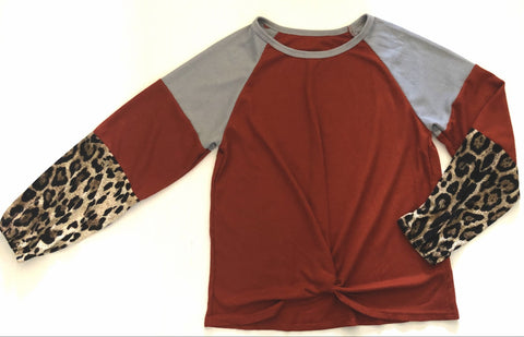 Thermal Top with Leopard Sleeves