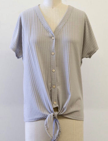 Ribbed Button Up Top With Tie