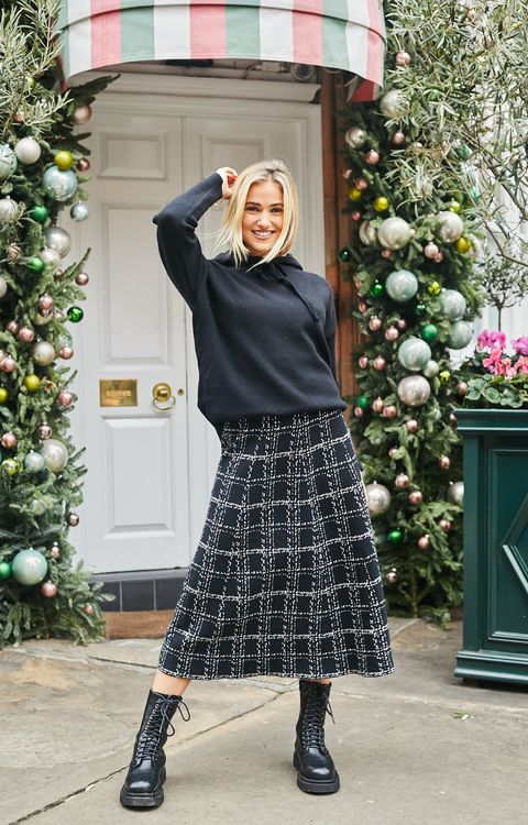 Trudie Skirt Small Check in Black & Ivory