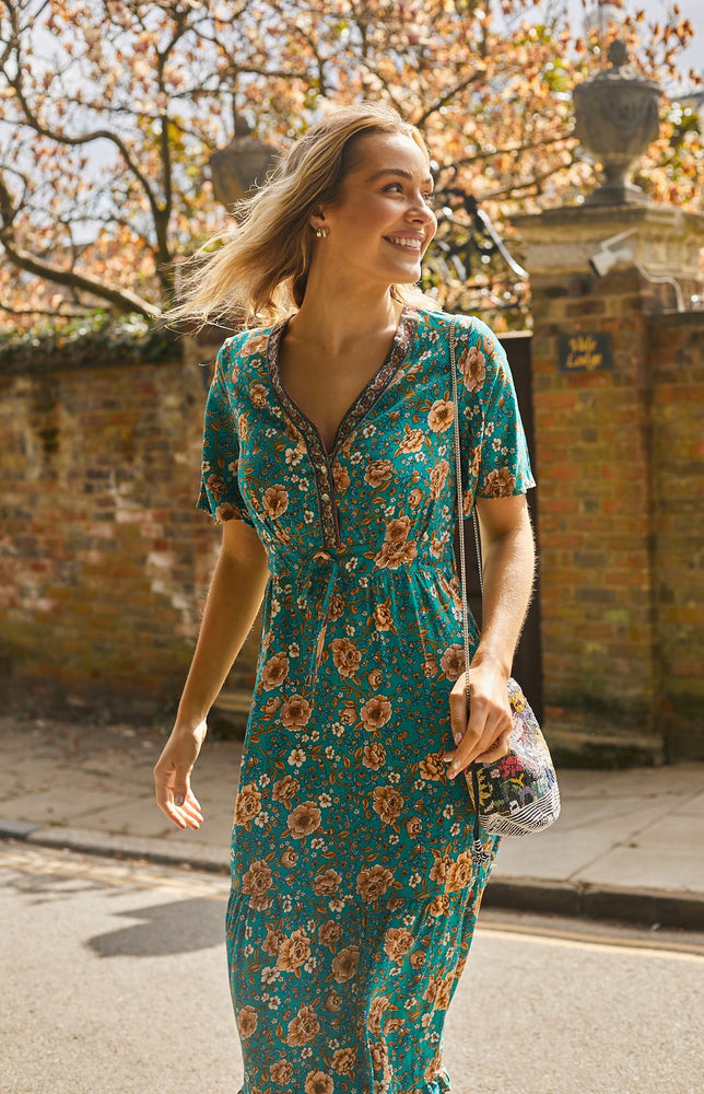 Load image into Gallery viewer, Rose Maxi Dress in Green