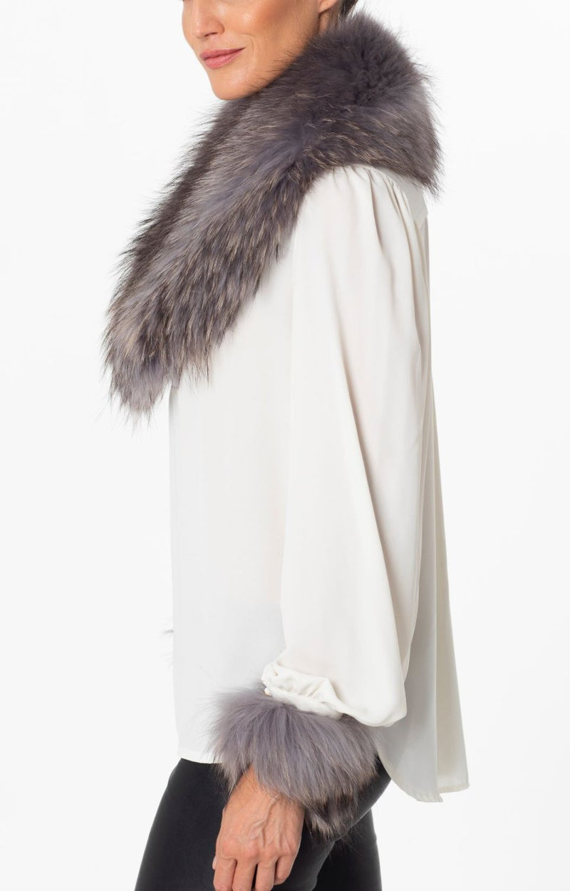 Laura Fur Collar Dove Grey