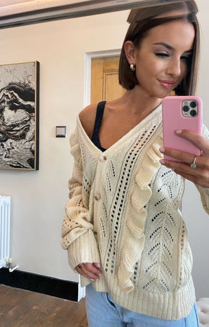 Load image into Gallery viewer, Angel Knit Cardi Cream