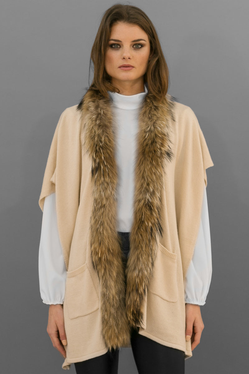 Sammy Jumper with Faux Fur Sleeves in Ivory