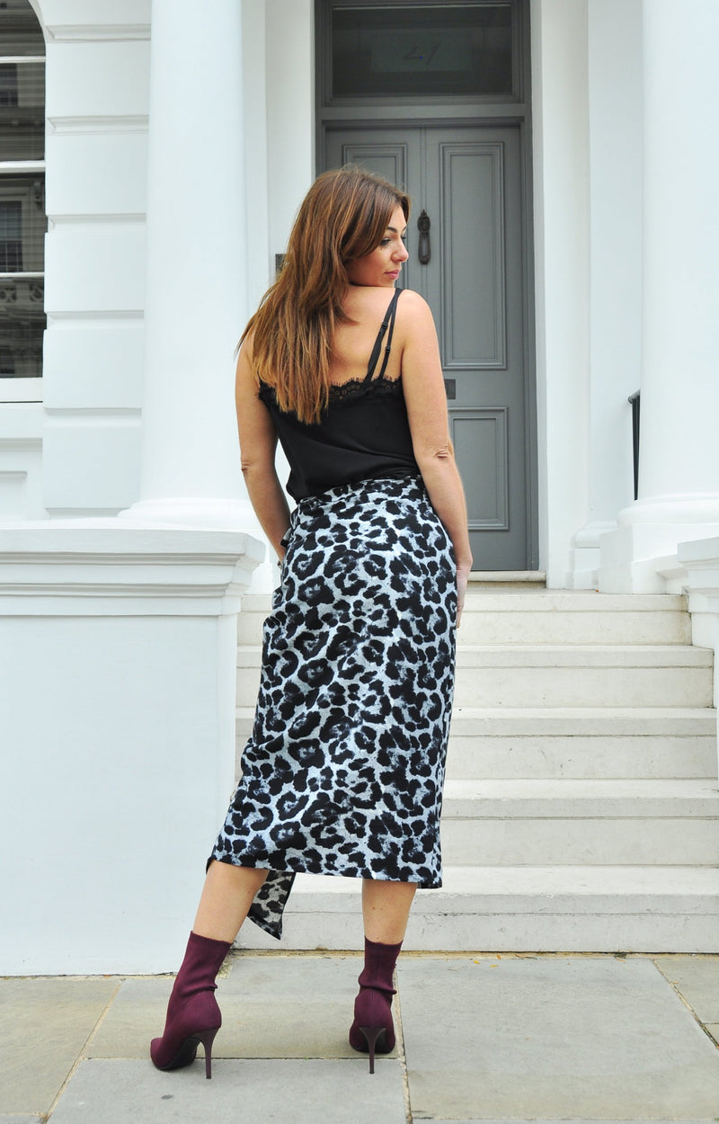 ZAZA SKIRT in Winter Leopard Grey